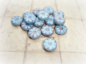 6 Cornflower Blue Czech Glass Flower Coin Daisy Beads