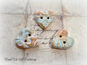 Beach Collection - 1 Blue & Brown Faux Ceramic Polymer Clay Heart Button
