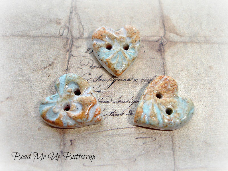 Beach Collection - Handmade Heart Buttons Beads 1 Blue & Brown Faux Ceramic Polymer Clay Heart Button Artisan Buttons