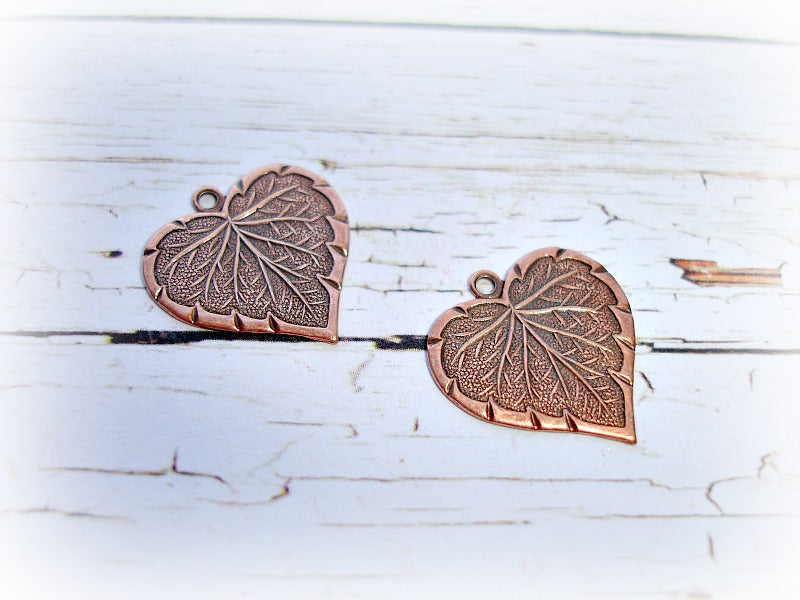 Brass Heart Leaf Charms