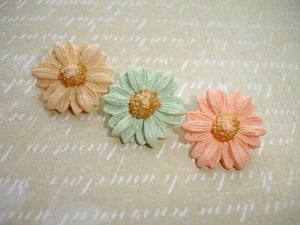 Spring Collection - Cream Mint & Peach Polymer Clay Button Set