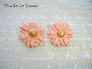 Spring Collection - 1 pair Peach Polymer Clay Flower Buttons