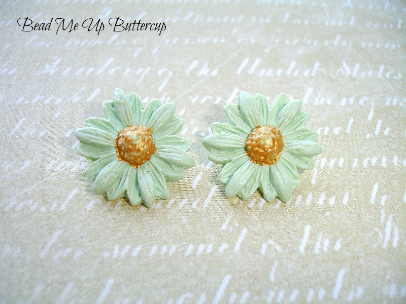 Spring Collection - 1 pair Mint Green Polymer Clay Flower Buttons