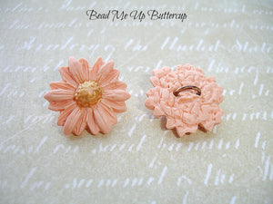 Spring Collection - 1 Peach Polymer Clay Flower Button