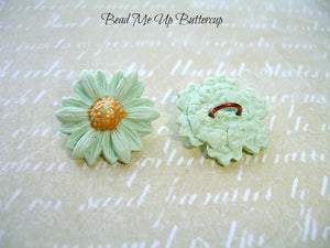 Spring Collection - 1 Mint Green Polymer Clay Flower Button