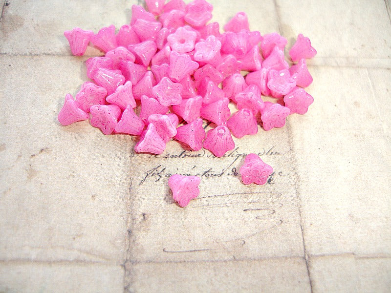 Pink Czech Glass Trumpet Bell Flower Beads