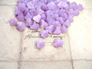 Lilac Czech Glass Trumpet Bell Flower Beads