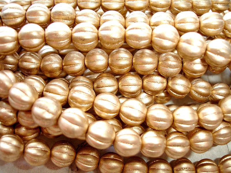 Gold Melon Czech Glass Beads 8 mm
