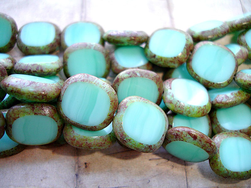6 Turquoise Green Oval Coin Czech Glass Beads 14 mm