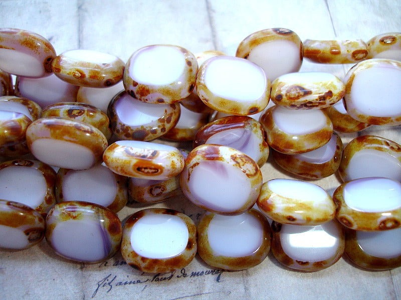 White Oval Coin Czech Glass Beads Picasso Finish 14 mm