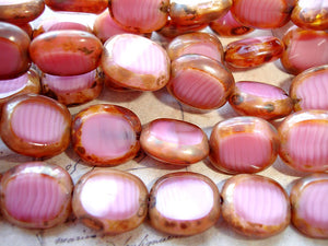 Rustic Pink Oval Coin Czech Glass Beads 14 mm