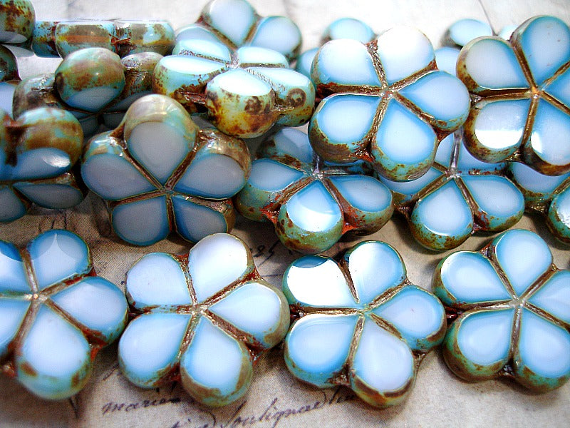 6 Blue, White & Picasso Finish Czech Glass Flower Beads 17 mm