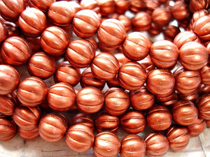 10 Metallic Copper Melon Czech Glass Beads 8 mm
