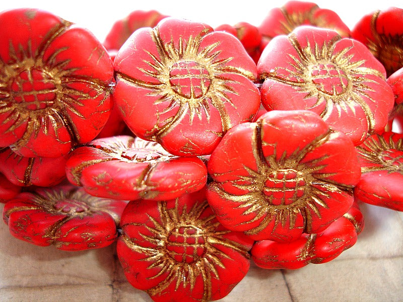 2 Large Czech Glass Rustic Red Flower Beads Briar Rose