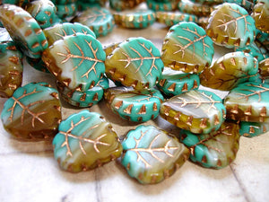 Turquoise Green & brown Bronze Veined Czech Glass Leaf Beads