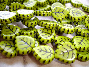 Dark Lime Green Black Veined Czech Glass Leaf Beads