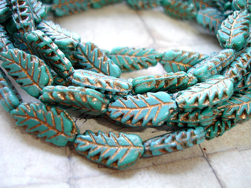Dark Turquoise Czech Glass Autumn Leaf Beads 15 mm x 7 mm