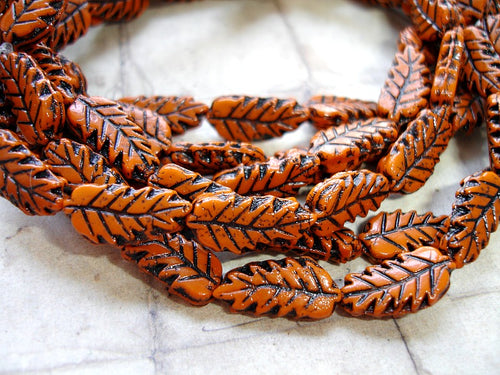 Pumpkin Orange Czech Glass Autumn Leaf Beads