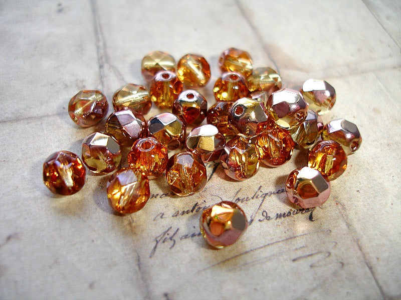 Golden Amber Faceted Fire Polished Czech Glass Beads 6 mm