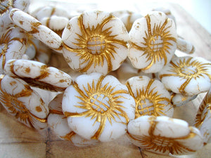 Large Czech Glass White Flower Beads Briar Rose