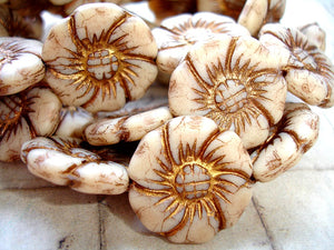 Large Czech Glass Creamy Brown Flower Beads Briar Rose