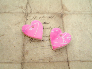 Pair Pink & Purple Silk Screen Fish Polymer Clay Hearts - Set 5