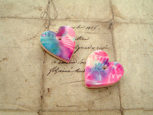 1 pair Purple, Blue & Pink Silk Screen Fish Polymer Clay Hearts
