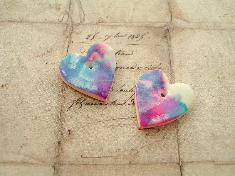1 Pair Blue, Purple & Pink Silk Screen Fish Polymer Clay Hearts