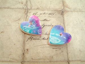 Pair Purple, Blue & Pink Silk Screen Fish Polymer Clay Hearts - Set 3
