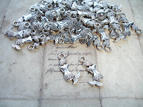 Antique Silver Cute Mermaid Charms