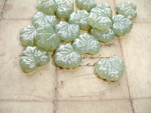 Sage Green Czech Glass Maple Leaf Beads