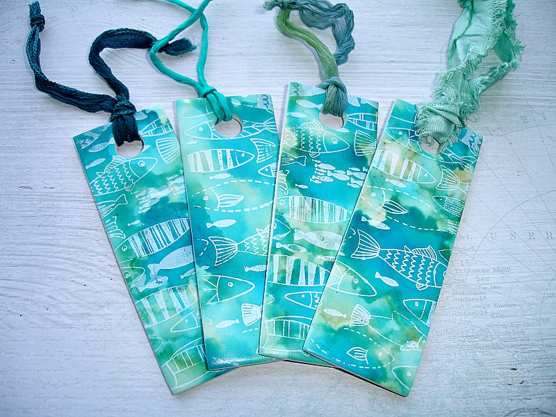Turquoise Fish Pattern Handcrafted Bookmark