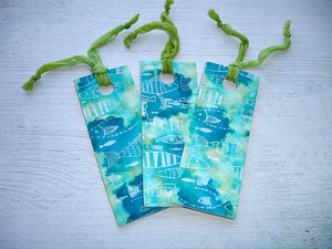 Turquoise Fish Pattern Handcrafted Bookmark With Lime Green Chiffon Ribbon