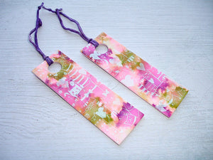 LAST ONE - Handmade Bookmark 1 Pink, Purple & Green Cats With Hearts Pattern Handcrafted Bookmark Artisan Bookmark Clay Bookmark