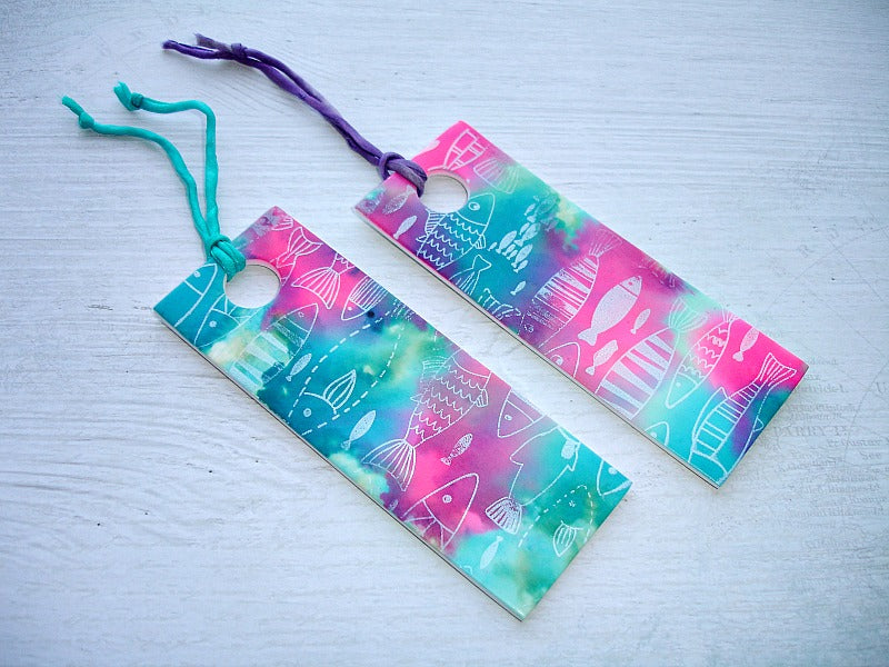 Turquoise & Pink Fish Pattern Handcrafted Bookmark