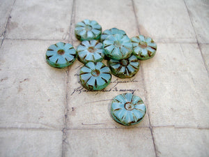 Rustic Turquoise Blue Flower Coin Czech Glass Beads 12 mm