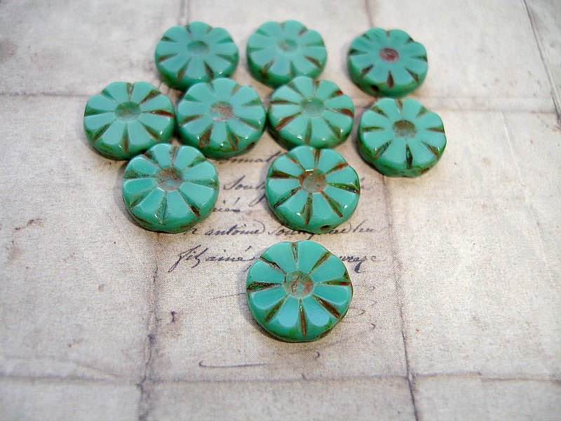 Rustic Jade Green Flower Coin Czech Glass Beads 12 mm
