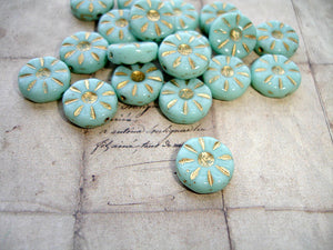 Light Mint Green Daisy Flower Coin Czech Glass Beads