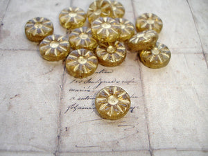 Transparent Golden Amber Flower Coin Czech Glass Beads 12 mm
