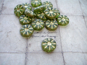Transparent Green Flower Coin Czech Glass Beads 12 mm