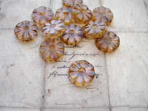Transparent Brown Flower Coin Czech Glass Beads 12 mm