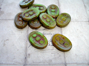 Green Oval Coin Bead Czech Glass Beads