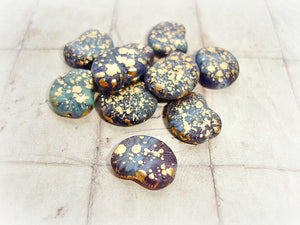 6 Dark lilac & Golden Speckled Fossil Snail Shell Czech Glass Beads