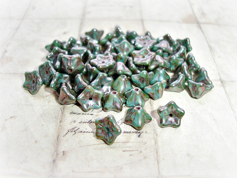 10 Rustic Metallic Silvery Green Czech Glass Trumpet Bell Flower Beads