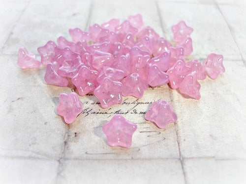 10 Soft Pretty Rose Pink Trumpet Bell Flower Beads