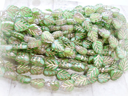 10 Fern Green Gold Veined Czech Glass Leaf Beads