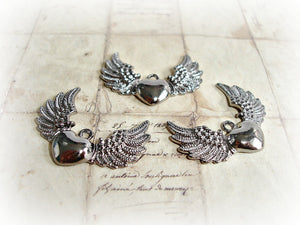 Gun Metal Angel Winged Heart Pendant Charms