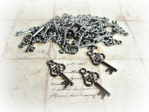 Gun Metal Key Charms Ornate Steampunk