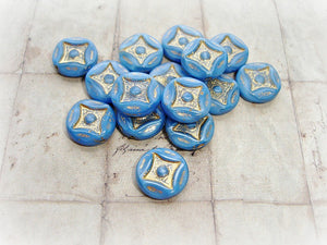 6 Rich Cornflower Blue Diamond Czech Glass Coin Beads 15 mm