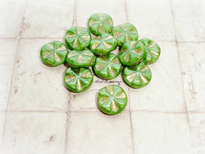 6 Rich Green & Gold Wavy Cross Coin Beads 14 mm